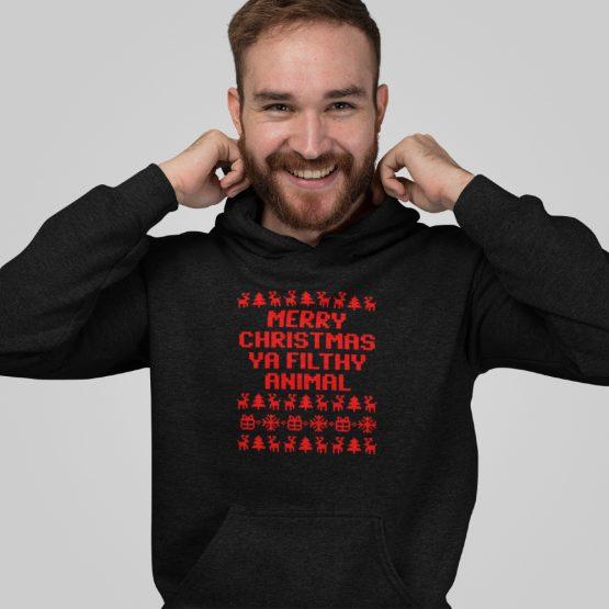 Zwarte Kerst Hoodie Premium Ya Filthy Animal