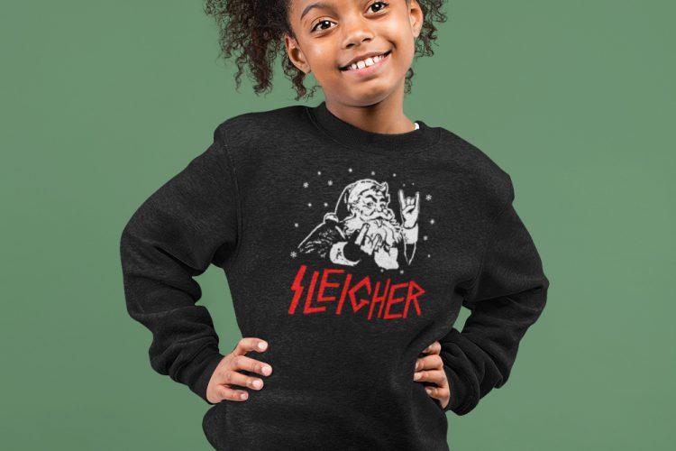 Foute Kersttrui Kind Zwart Premium Sleigher