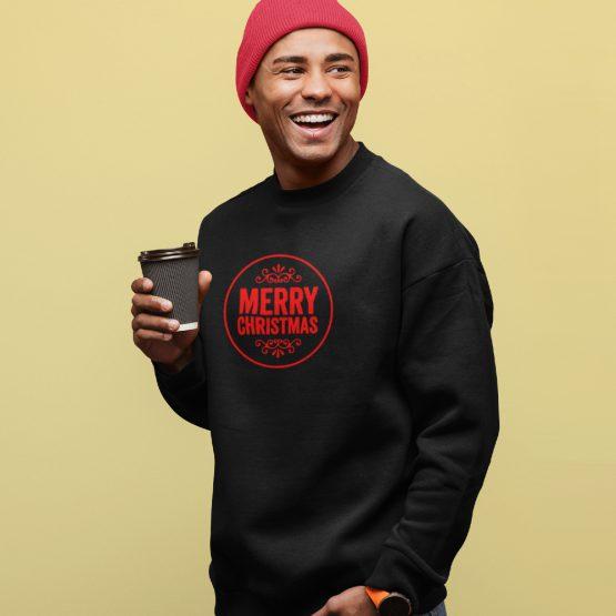 Zwarte Kersttrui Merry Christmas Red