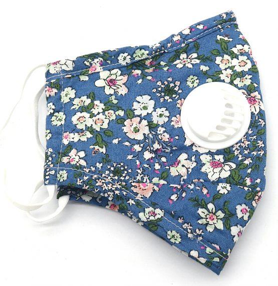 Bloemen Mondkapje Blauw met Ventiel Dubbel