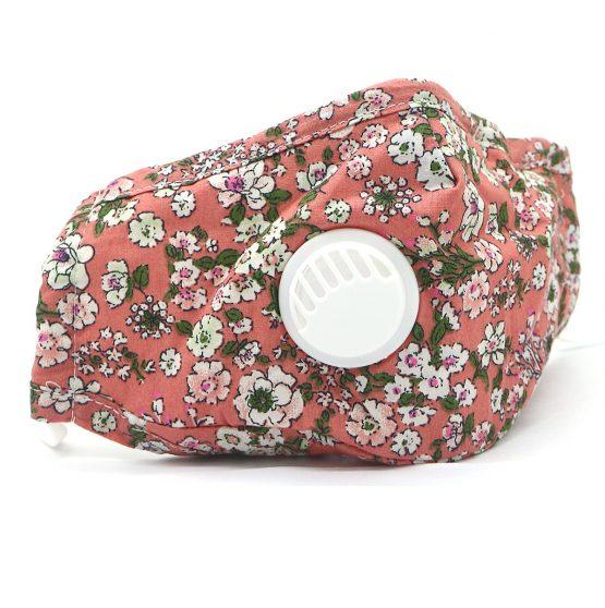 Bloemen Mondkapje met Ventiel Roze