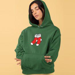 Foute Kerst Hoodie Groen Christmas Socks
