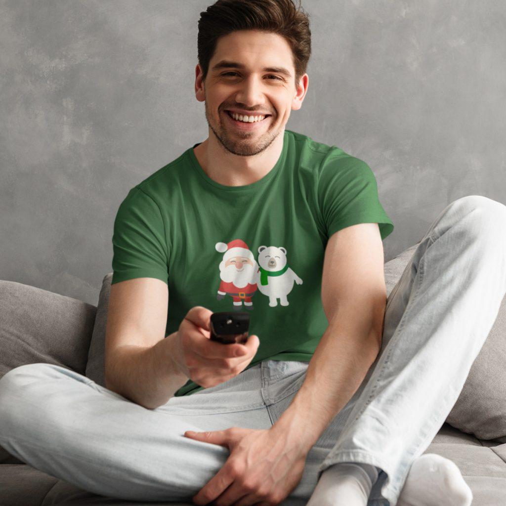 Foute Kerst T-Shirt Groen Kerstman Beer