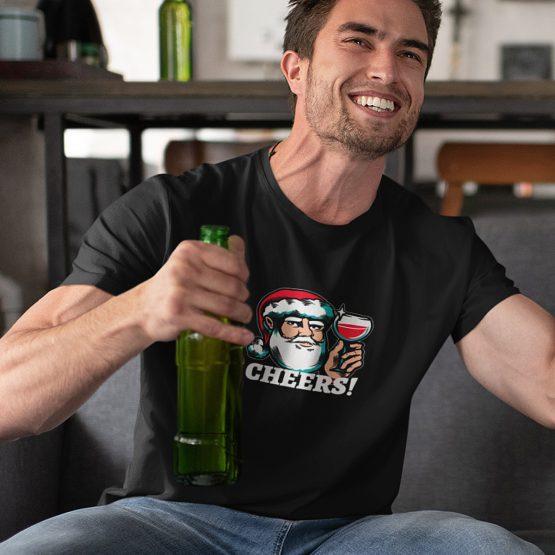 Foute Kerst T-Shirt Zwart Cheers