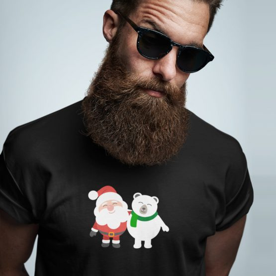 Foute Kerst T-Shirt Zwart Kerstman Beer
