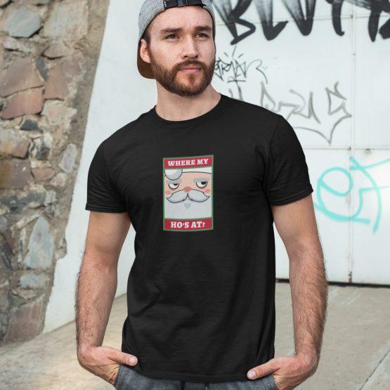 Foute Kerst T-Shirt Zwart Where My Ho's At