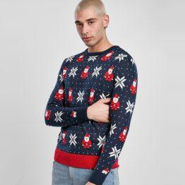 Foute Kersttrui Heren Blauw Kerstman