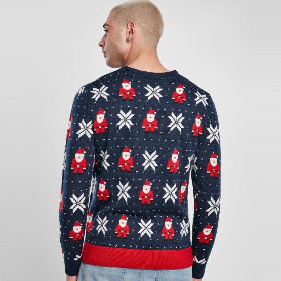 Foute Kersttrui Heren Blauw Kerstman Achterkant