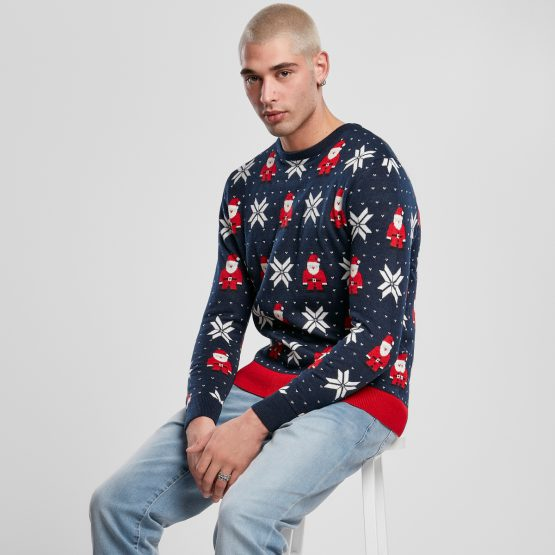 Foute Kersttrui Heren Blauw Kerstman Sfeerfoto