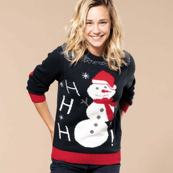 Foute Kersttrui Navy Sneeuwpop
