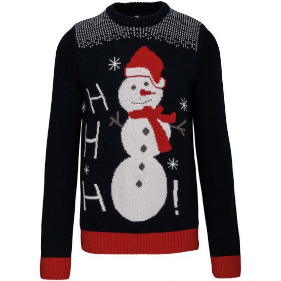 Foute Kersttrui Navy Sneeuwpop Ho Ho Ho 1