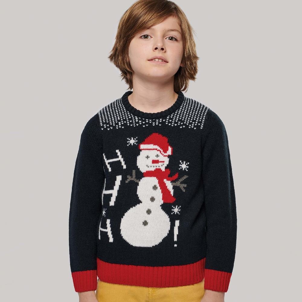 Foute Kersttrui Navy Sneeuwpop Ho Ho Ho