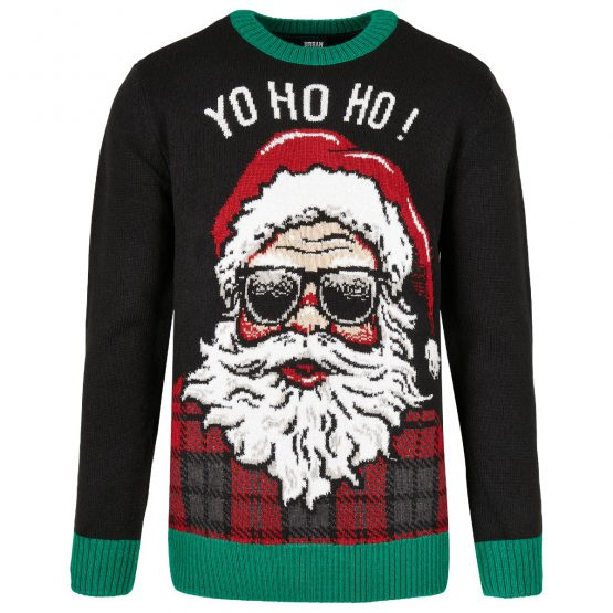 Foute Kersttrui Zwart Yo Ho Ho Productfoto