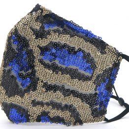 Glitter Mondkapje Luipaard Goud Blauw Zijkant