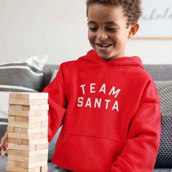 Kerst Hoodie Kind Rood Team Santa Text