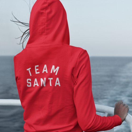Kerst Hoodie Rood Team Santa Text Back