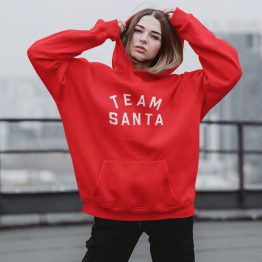 Kerst Hoodie Rood Team Santa Text Dames