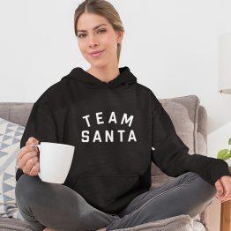 Kerst Hoodie Zwart Team Santa Text Dames