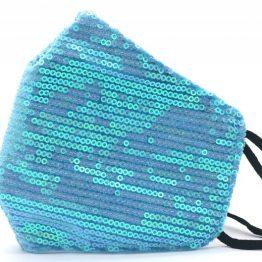 Trendy Mondkapje met Pailletten Blauw