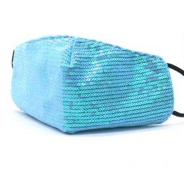 Trendy Mondkapje met Pailletten Blauw Voorkant 2