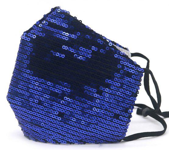 Trendy Mondkapje met Pailletten Donkerblauw Zijkant