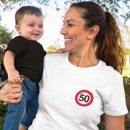 Wit T-Shirt 50 Jaar Dames Borstlogo
