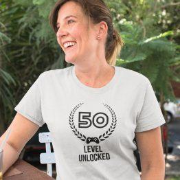 Wit T-Shirt 50 Jaar Dames Level 50 Unlocked