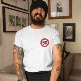 Wit T-Shirt 50 Jaar Heren Borstlogo