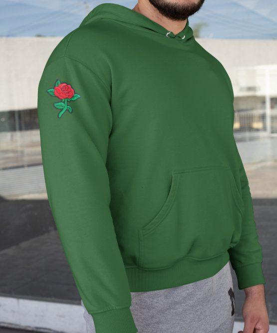Flower Hoodie met Roos Sleeve Groen