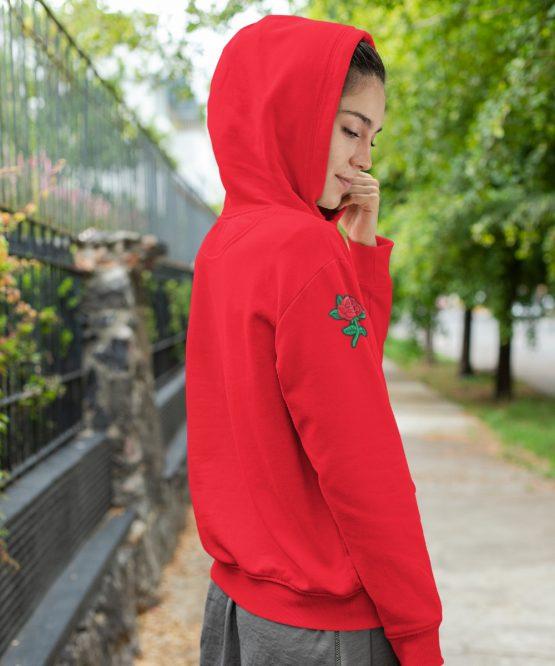 Flower Hoodie met Roos Sleeve Rood