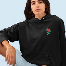 Flower Hoodie met Roos Zwart