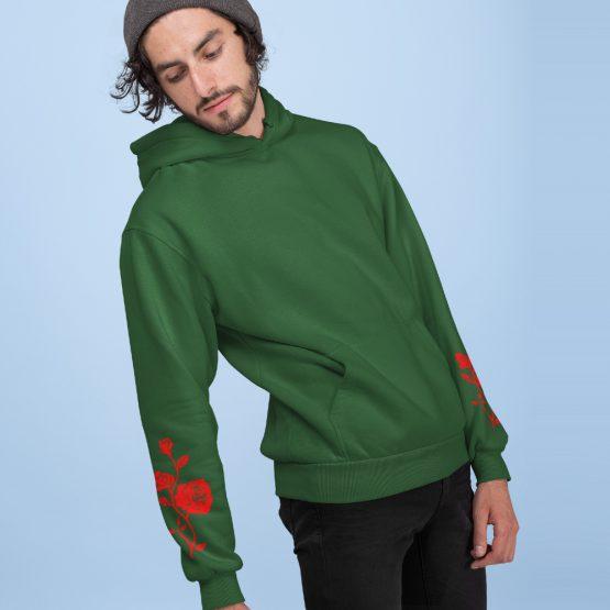 Hoodie met Roos Red Sleeves Groen