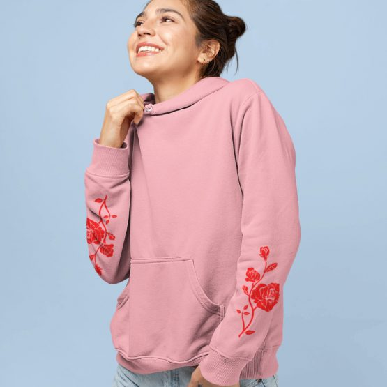 Hoodie met Roos Red Sleeves Roze