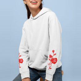 Hoodie met Roos Red Sleeves Wit
