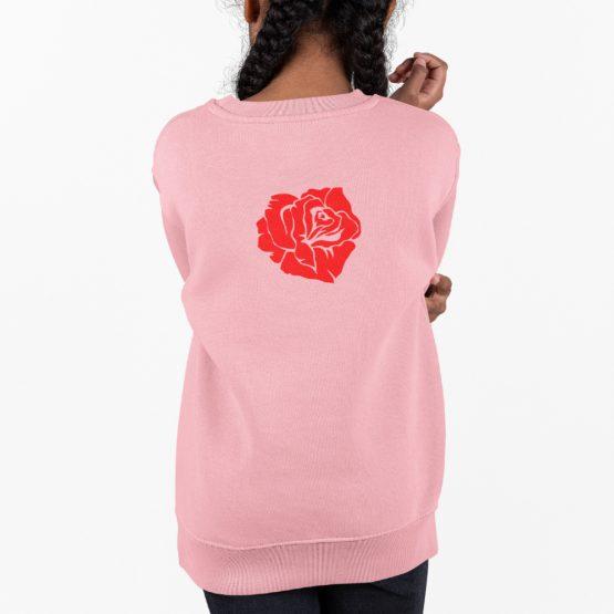 Trui met Roos Big Bloom Back Roze