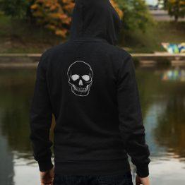 Hoodie Big Skull Back Zwart