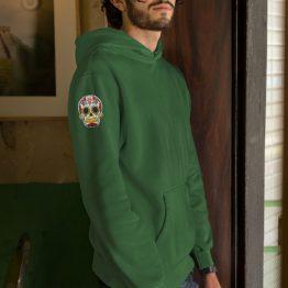 Hoodie Mexican Skull Patch Sleeve Groen