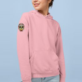 Hoodie Mexican Skull Patch Sleeve Roze