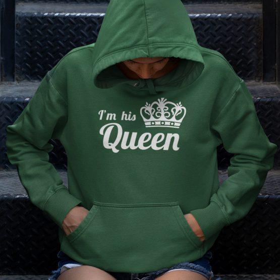 King Queen Hoodie His Hers Groen