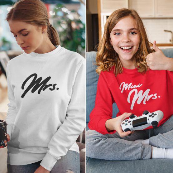 Moeder Dochter Sweaters Mrs & Mini Mrs Rood Wit