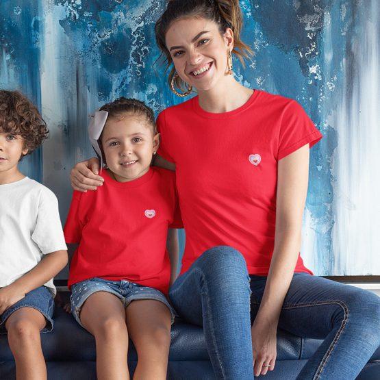 Moeder Dochter T-Shirt Roze Hartje Patch Rood
