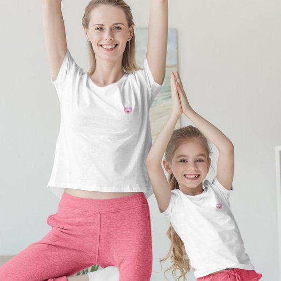 Moeder Dochter T-Shirt Roze Hartje Patch Wit