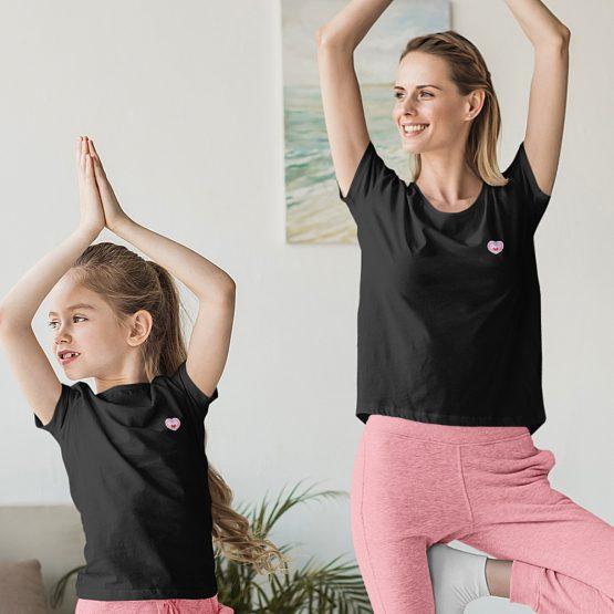 Moeder Dochter T-Shirt Roze Hartje Patch Zwart