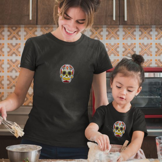 Moeder Dochter T-Shirts Mexican Skull Zwart