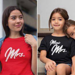 Moeder Dochter T-Shirts Mrs & Mini Mrs