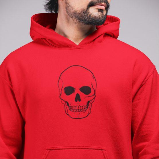 Skull Hoodie Big Skull Black Rood
