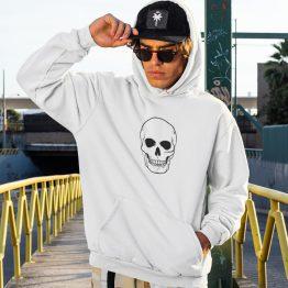 Skull Hoodie Big Skull Black Wit