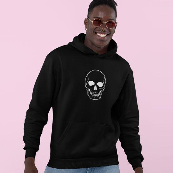Skull Hoodie Big Skull White Zwart