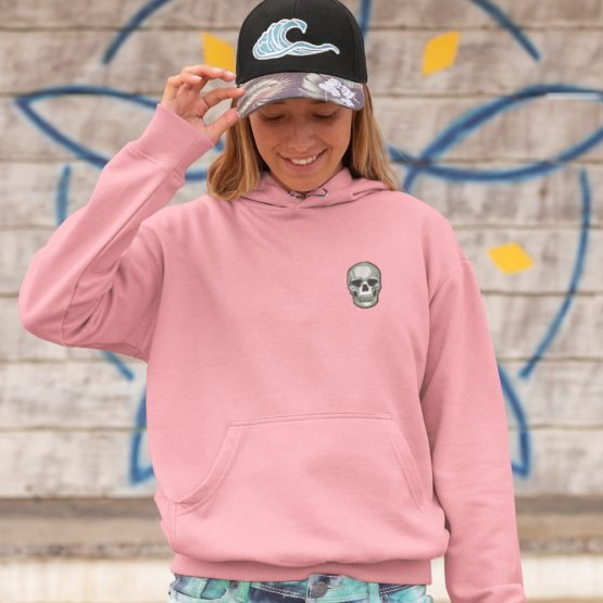 Skull Hoodie Chest Patch Roze