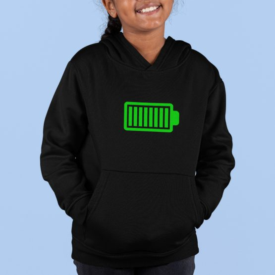 Hoodie Kind Battery Full Zwart